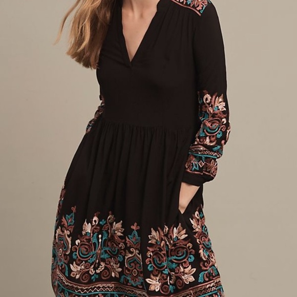 Anthropologie Embroidered Black Dress Floreat